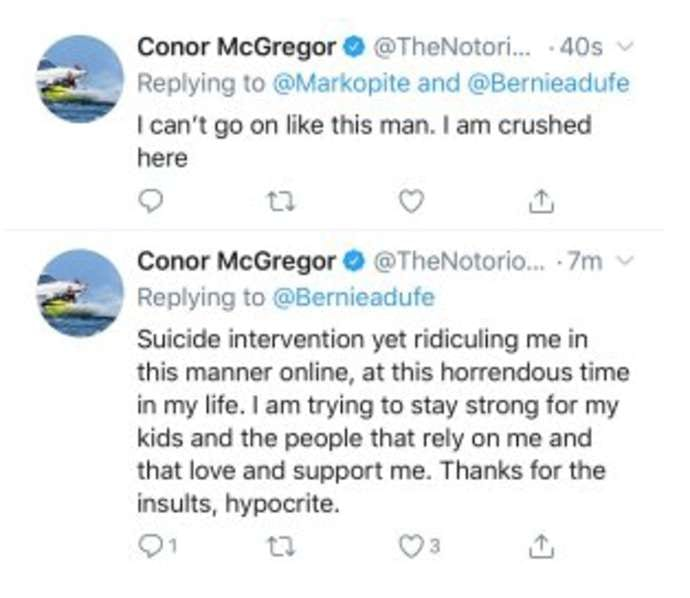 McGregor suicide tweets